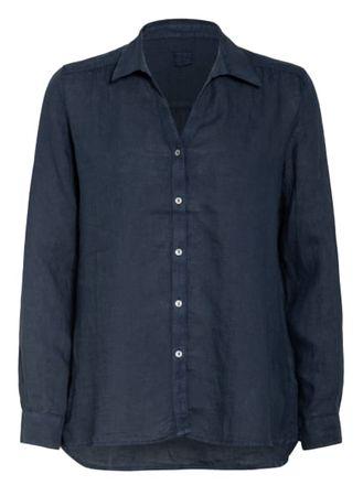 120% Lino 120%Lino Hemdbluse Aus Leinen blau grau