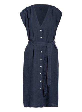 120% Lino 120%Lino Hemdblusenkleid Aus Leinen blau grau