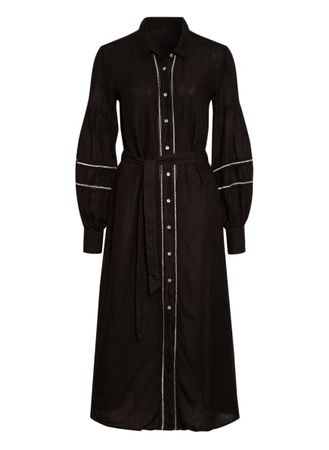 120% Lino 120%Lino Hemdblusenkleid Aus Leinen Mit Glitzergarn schwarz schwarz
