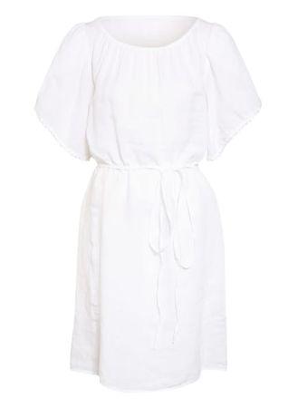 120% Lino 120%Lino Kleid Aus Leinen weiss grau