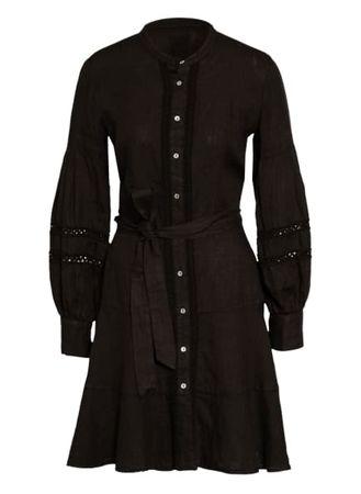 120% Lino 120%Lino Leinenkleid Mit Lochspitze schwarz schwarz