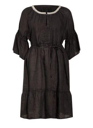120% Lino 120%Lino Leinenkleid Mit Perlenbesatz schwarz schwarz