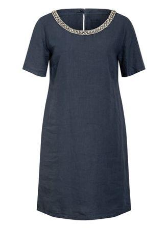 120% Lino 120%Lino Leinenkleid Mit Schmucksteinbesatz blau grau