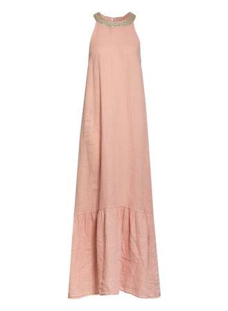 120% Lino 120%Lino Leinenkleid Mit Schmucksteinbesatz rosa orange
