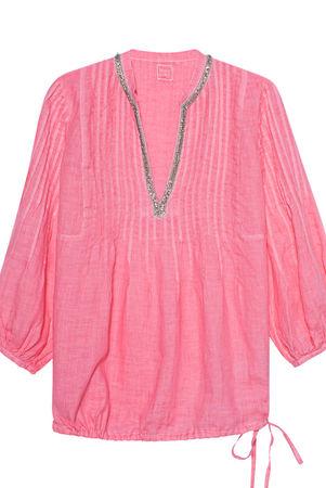 120% Lino  Blouse Hibiscus Damen Coral rosa