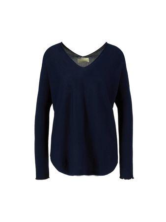 120% Lino  - Cashmere-Pullover mit V-Ausschnitt Dunkelblau