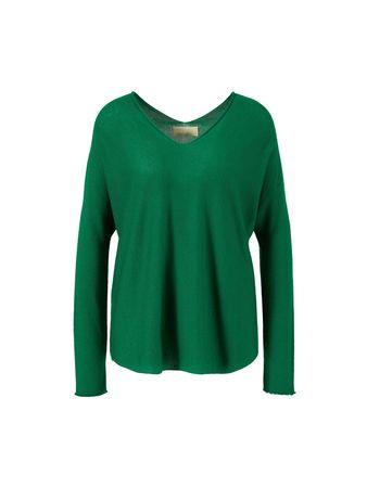120% Lino  - Cashmere-Pullover mit V-Ausschnitt Grün