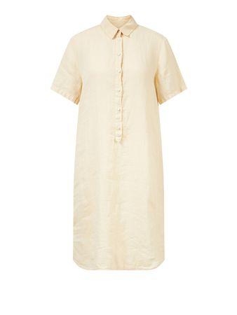 120% Lino  - Kurzärmliges Leinenkleid Hellgelb