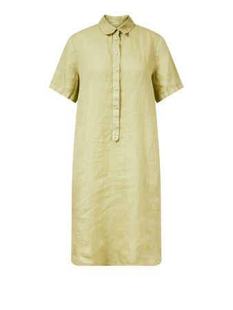 120% Lino  - Kurzärmliges Leinenkleid Olive
