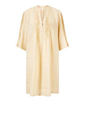 120% Lino  - Leinenkleid mit Biesendetail Hellgelb