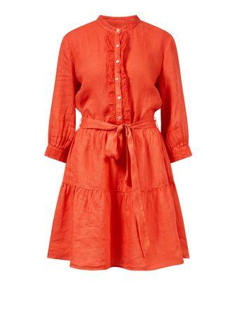 120% Lino  - Leinenkleid mit Bindegürtel Rot
