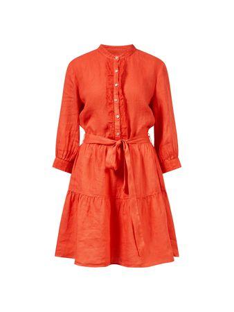 120% Lino  - Leinenkleid mit Bindegürtel Rot rot