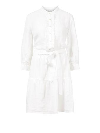 120% Lino  - Leinenkleid mit Bindegürtel Weiß