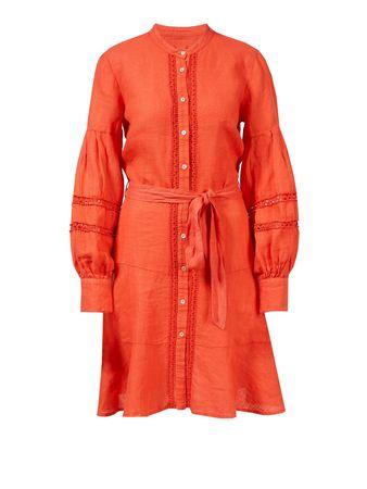 120% Lino  - Leinenkleid mit Lochspitze Rot