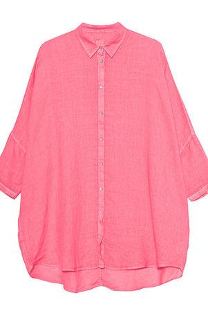 120% Lino  Oversize Blouse Hibiscus Damen Coral rosa