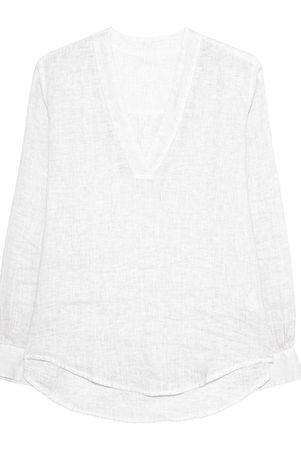 120% Lino  Tunic Bianco White Damen Weiß grau