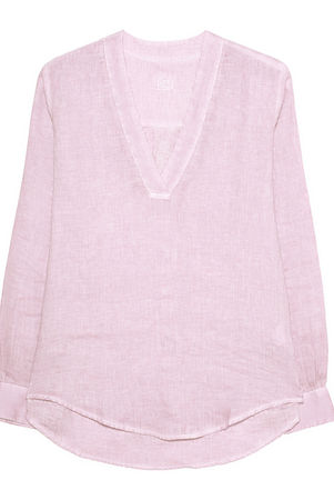 120% Lino  Tunic Fragrant Light Pink Damen Rosa braun