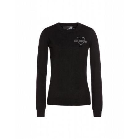 Love Moschino  Pullover Aus Strickgewebe Mit Strass-logo Damen Gr. 38/32 Schwarz schwarz