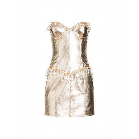 MOSCHINO  Kleid Aus Laminiertem Nappaleder Damen Gr. 40/34 Gold braun