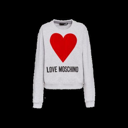 Love Moschino  Baumwoll-sweatshirt Mit Herz Damen Gr. 40/34 Grau