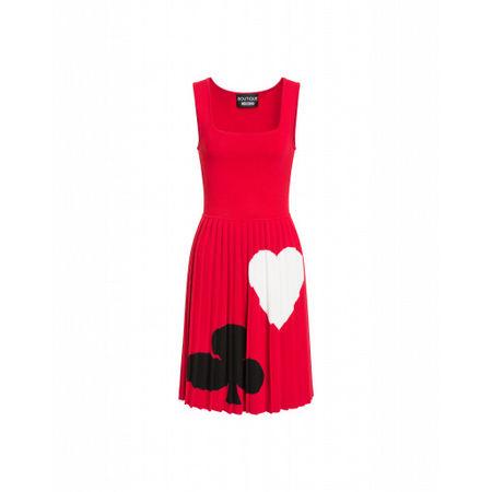 MOSCHINO Boutique  Kleid Aus Woll-viskose Mit Den Spielkartenfarben Damen Gr. 40/34 Rot rot
