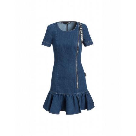 Love Moschino  Stretch-jeanskleid Damen Gr. 42/36 Blau grau