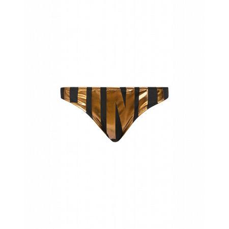 MOSCHINO  Bikini-slip Mit Laminiertem Maxi-logo Damen Gr. 2/36 Schwarz braun
