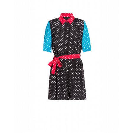 MOSCHINO Boutique  Trainingsanzug Aus Crêpe De Chine Polka Dots Damen Gr. 42/36 Schwarz grau
