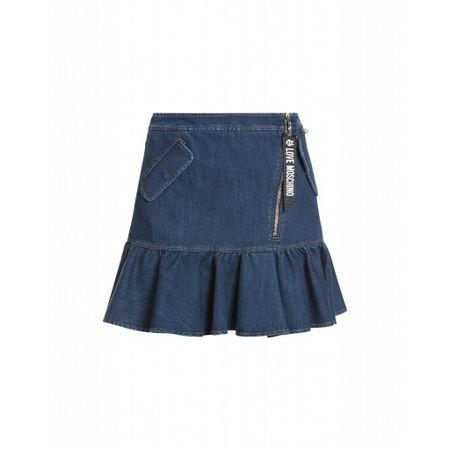 Love Moschino  Stretch-denim-minirock Damen Gr. 44/38 Blau grau