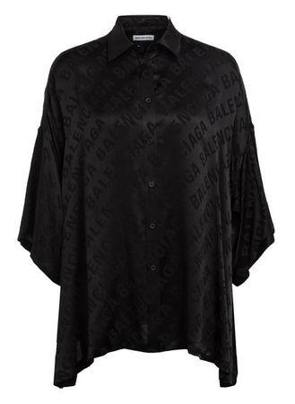 Balenciaga  Hemdbluse Aus Seide Mit 3/4-Arm schwarz schwarz