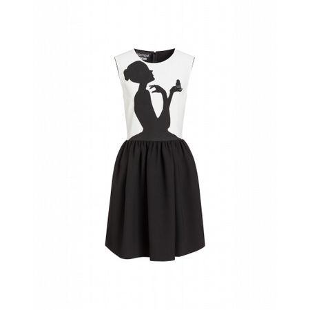 MOSCHINO Boutique  Kurzes Cady-kleid Mit Druck Frauensilhouette Mit Parfüm Damen Gr. 48/42 Weiß schwarz