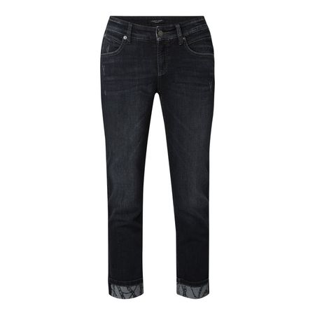 CAMBIO Slim Fit 7/8-Jeans im Used Look schwarz