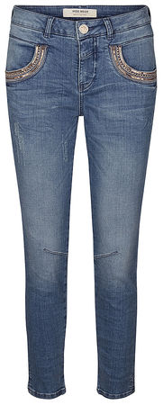 Mos Mosh Damen Stretchjeans Naomi Shine Split 7/8 Light Blue Denim grau