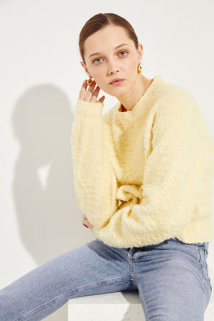 Acne Studios  - Baumwoll-Pullover 'Kathy' Gelb