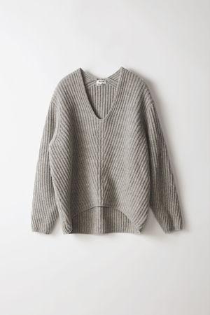 Acne Studios  Deborah L-Wool Blassgrau-meliert Pullover mit tiefem V-Ausschnitt grau