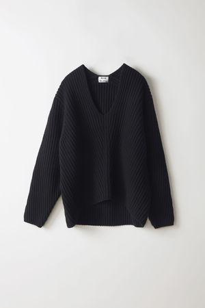 Acne Studios  Deborah L-Wool Schwarz Pullover mit tiefem V-Ausschnitt grau