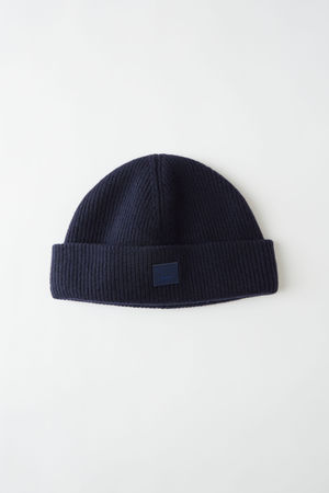 Acne Studios  FA-UX-HATS000026 Marineblau  Beanie mit Face-Aufnäher grau