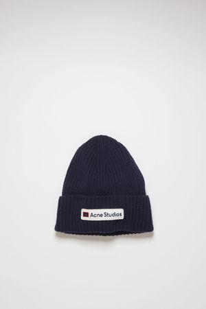 Acne Studios  FA-UX-HATS000051 Marineblau  Woll-Beanie mit Logo-Aufnäher grau
