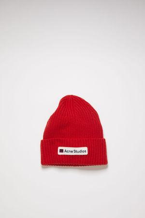 Acne Studios  FA-UX-HATS000051 Rot  Woll-Beanie mit Logo-Aufnäher grau
