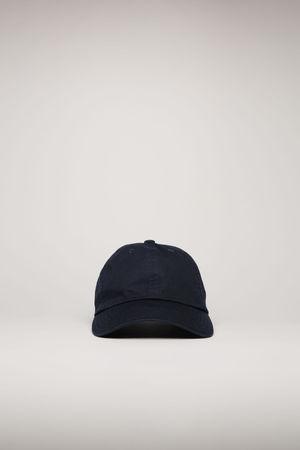 Acne Studios  FA-UX-HATS000055 Marineblau  Kappe mit Face-Aufnäher grau