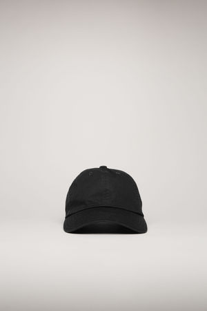 Acne Studios  FA-UX-HATS000055 Schwarz  Kappe mit Face-Aufnäher grau