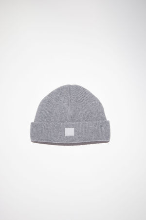 Acne Studios  FA-UX-HATS000064 Grey Melange  Rib knit beanie weiss