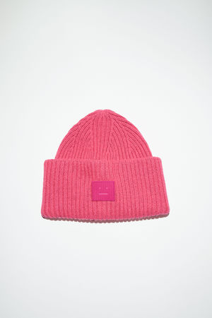 Acne Studios  FA-UX-HATS000067 Neon Pink Rib knit beanie hat weiss