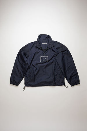 Acne Studios  FA-UX-OUTW000022 Marineblau  Jacke mit halbem Reißverschluss und Face-Motiv grau