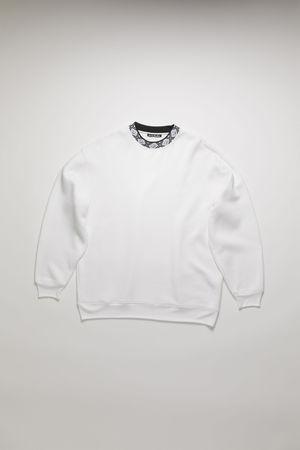 Acne Studios  FA-UX-SWEA000039 Optisches Weiß  Sweatshirt mit Stehkragen und Face-Motiv braun