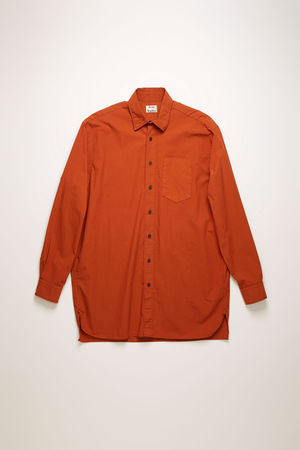 Acne Studios  FN-MN-SHIR000176 Ziegelrot  Oversized-Hemd aus Baumwolle braun