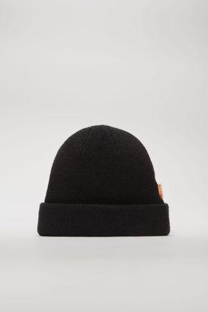 Acne Studios  FN-UX-HATS000025 Schwarz Gerippter Beanie aus Wolle grau