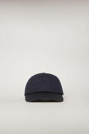 Acne Studios  FN-UX-HATS000028 Marineblau  Kappe mit aufgesticktem Logo braun