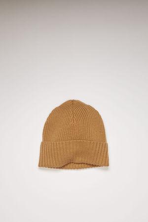 Acne Studios  FN-UX-HATS000044 Hazel beige Melange ribbed beanie grau