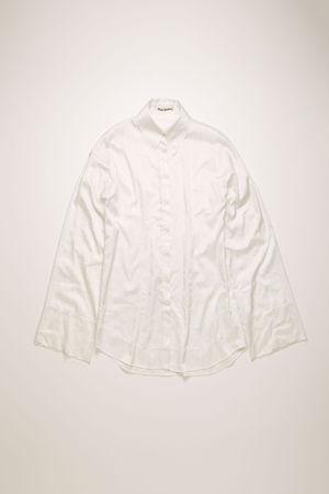 Acne Studios  FN-WN-BLOU000323 Elfenbeinweiß  Satin-Hemd aus floralem Jacquard braun